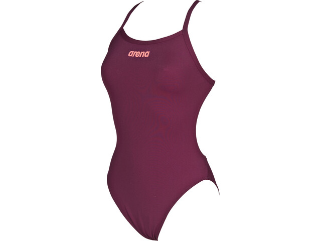 arena Solid Light Tech High One Piece Swimsuit Dames, red wine-shiny pink